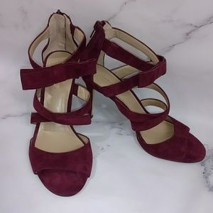 Strappy Burgundy Wine Thea Bow Heels Ann Taylor